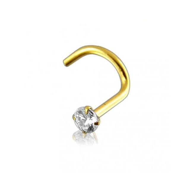 Sans Marque Bijou Piercing Vis de Nez Or Massif 14 carats Pierre Précieuse Diamant Véritable de 2mm Serti