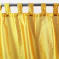 Mon Beau Tapis - Rideau à pattes Solene 140x250cm, Jaune • Soie polyester