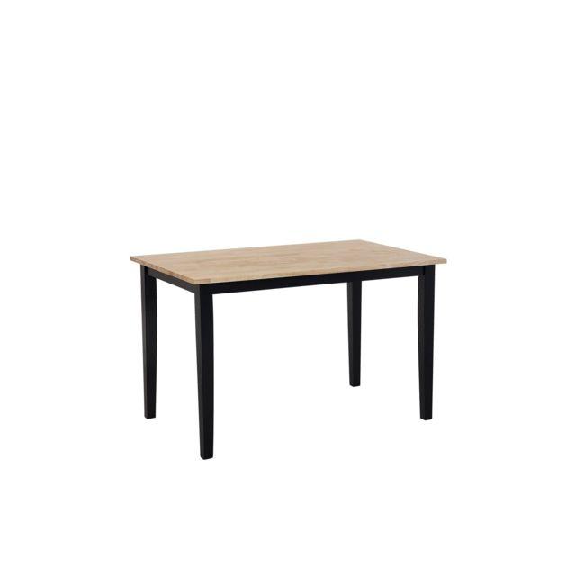 BELIANI Table marron clair/noire 120 x 75 cm HOUSTON - blanc