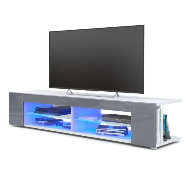 Mpc Meuble Tv blanc mat Façades en gris laquées led Bleu