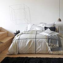 Francois Hans - Parure housse de couette + taies 100% coton carreaux écossais Darling - Anthracite - 140x200cm