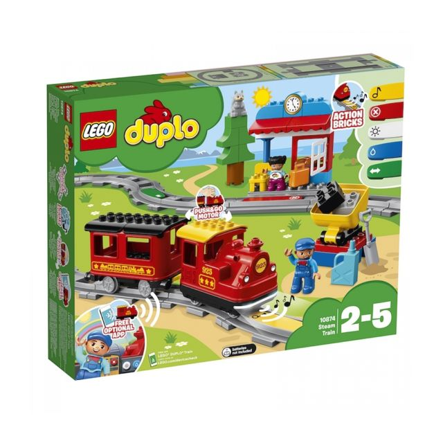 Lego DUPLO® Ma ville - Le train à vapeur - 10874 Votre enfant peut à présent contrôler et manipulerLe train à vapeurLEGO® DUPLO® 10874encore plus facilement et de plusieurs manières.Informations