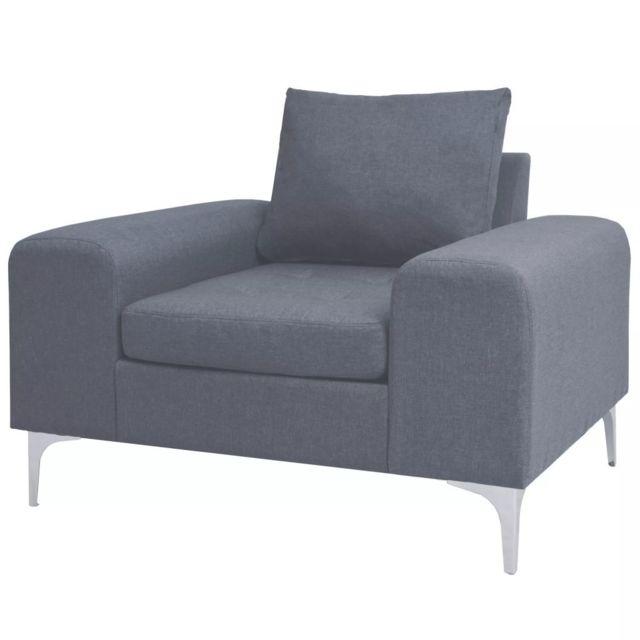 Vidaxl Fauteuil avec oreiller Acier et tissu Gris clair - Fauteuils - Fauteuils club, fauteuils inclinables et chauffeuses lits