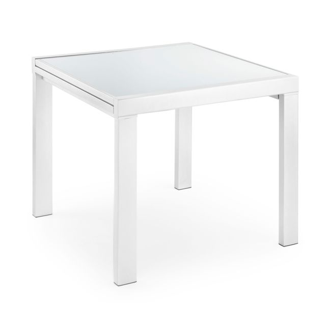 Kavehome Table extensible Norfolk 90 180, x90 cm, blanc