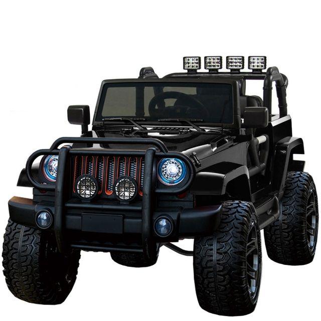 VOITURE ELECTRIQUE - Grand 4x4 voiture électrique pour enfant 24 volts noir  luxe pneus gomme EVA f2d16876a812