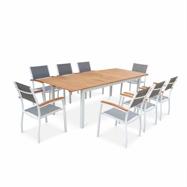 ALICE'S GARDEN Salon de jardin en bois et aluminium Sevilla, grande table 200-250cm avec allonge papillon, textilène gris taupe