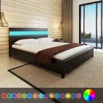 Rocambolesk - Superbe Lit en cuir artificiel noir avec tête de lit Led 200 x 160 cm neuf