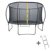 HAPPY GARDEN - Trampoline 400cm gris BALMORAL avec filet de protection et son échelle