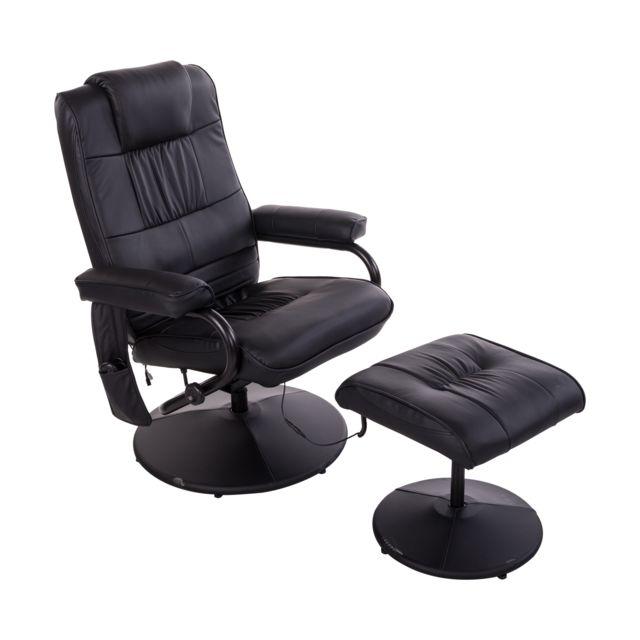 Homcom Chaise de bureau pivotante fauteuil direction de massage electrique  massant relaxation noir 6ada75e78cd8