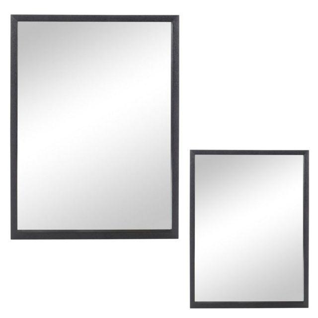 Tousmesmeubles Duo de miroirs rectangulaires Bois noir taille S - Elona