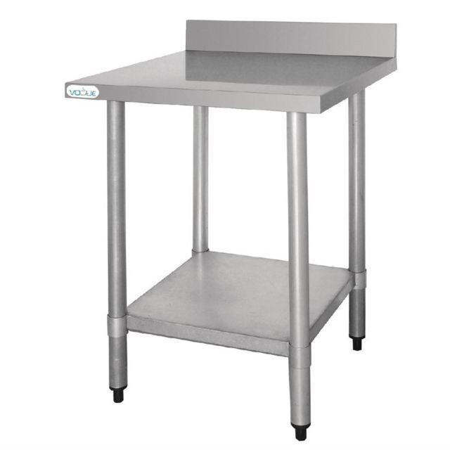 Vogue Table Inox avec Dosseret - Gamme 600 inox 600x600 600