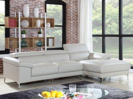 MARQUE GENERIQUE Canapé d'angle en cuir SOLANGE - Blanc - Angle droit
