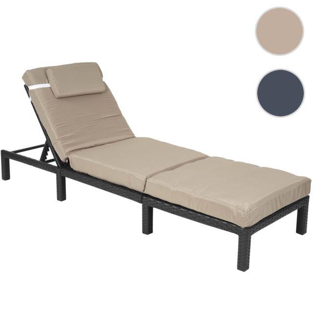 mendler chaise longue hwc a51 polyrotin bain de soleil transat de jardin premium anthracite coussin crme noir pas cher achat vente transats - Jardin Transat