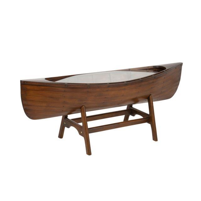 Tousmesmeubles Table de salon bateau en Bois - Freesia