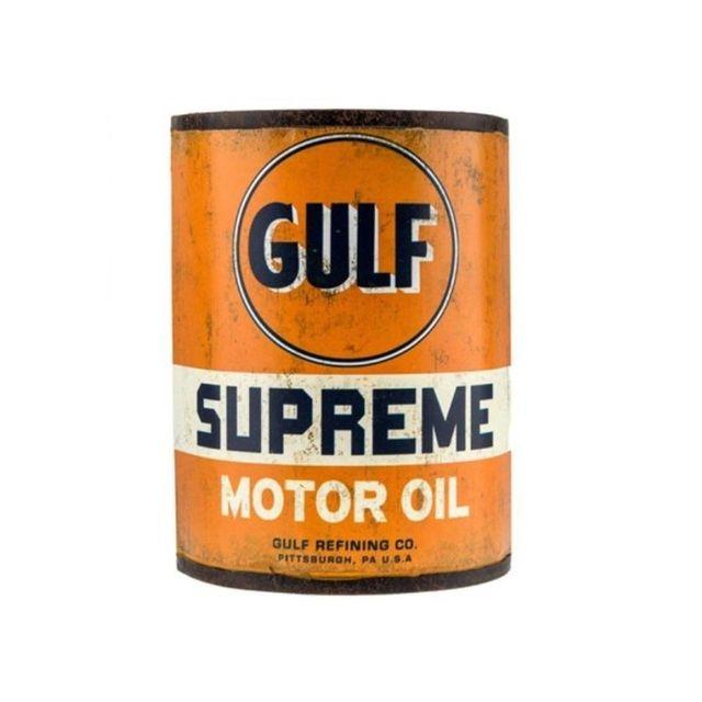 universel 1 2 bidon d huile gulf supreme moto oil tole pub metal usa pas cher achat vente. Black Bedroom Furniture Sets. Home Design Ideas