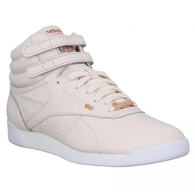 a6ab9dfd52178 Reebok - Freestyle Hi cuir Femme-38-Pale Pink Rose - pas cher Achat   Vente  Baskets femme - RueDuCommerce