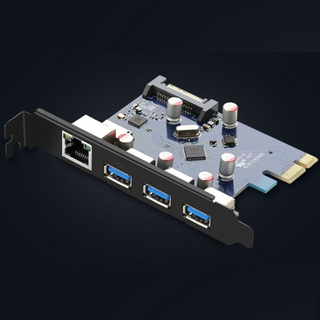 Carte Usb 3.Carte Reseau Pci E D Extension Usb 3 0 A 3 Ports Ethernet Gigabit Super Speed