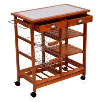 Chariot de service desserte à roulettes multi-rangements tiroirs paniers étagères range bouteilles bois de pin