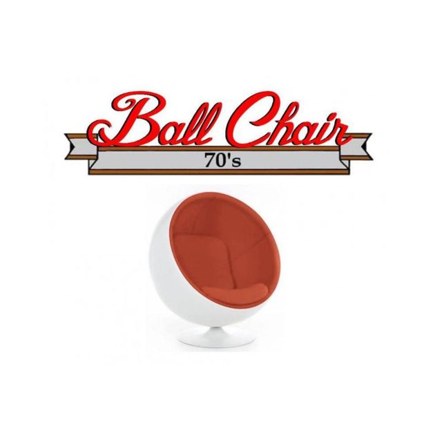 Inside 75 Fauteuil boule, Ball chair coque blanche / intérieur velours orange. Design 70's