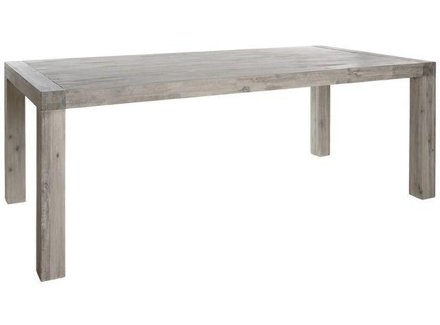 Comforium Table de salle à manger 180 cm en acacia massif coloris gris clair cérusé