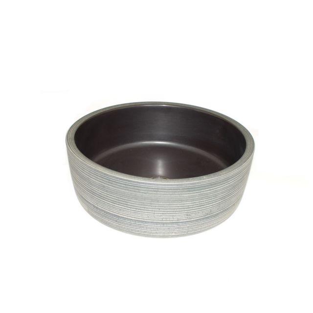 vasque a poser gris Rue Du Bain - Vasque à Poser Ronde - Céramique rainurée Gris et Blanc - 42