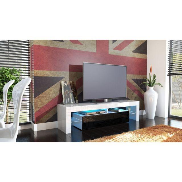 Mpc Meuble tv blanc et noir avec led 151 cm