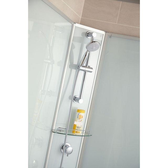 SCHULTE - Cabine de douche complète, 90 x 160 x 190 cm, cabine de douche intégrale avec portes coulissantes, verre transparent, ouverture vers la droite, Corsica