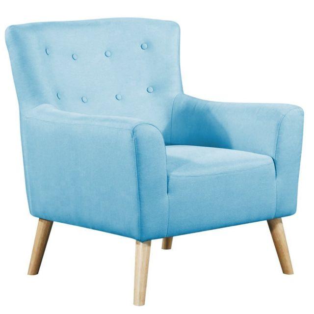 Inside 75 Fauteuil fixe design scandinave Bellaria tissu tweed bleu azur
