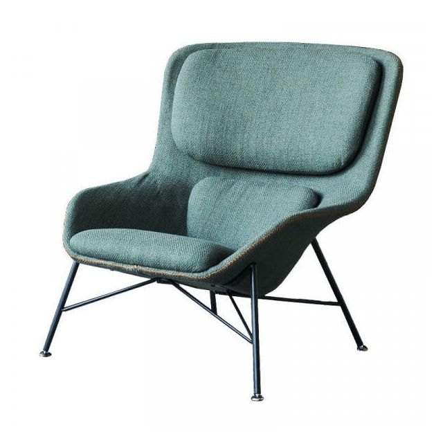 Mathi Design Rockwell - Fauteuil moderne en tissu vert et acier