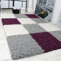 Paco Home   Tapis Shaggy Longues Mèches Hautes Carreaux Violet Gris Blanc  120X170
