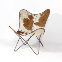 Made In Meubles - Fauteuil papillon en cuir design vache | M-94