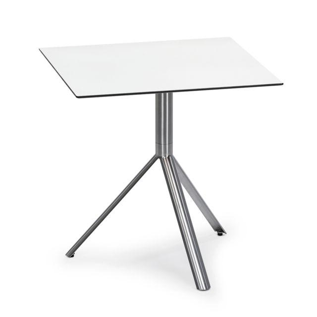 Table de bistro Trio - carrée - blanc - Acier inoxydable - 60 x 60 cm