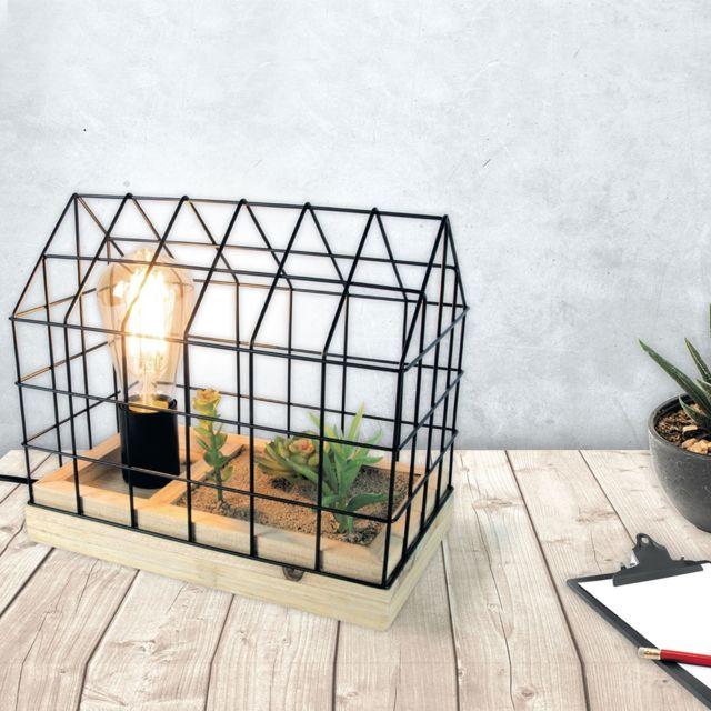 The Home Deco Factory Lampe à poser avec plante Garden - L. 25 x H. 24 cm - Noir