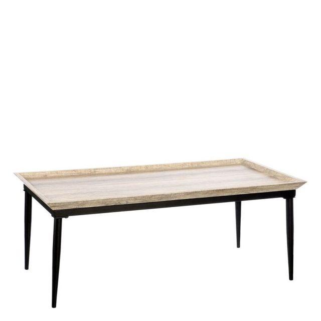 Ma Maison Mes Tendances Table basse rectangulaire en Mdf couleur bois clair et métal Leba - L 110 x l 60 x H 42