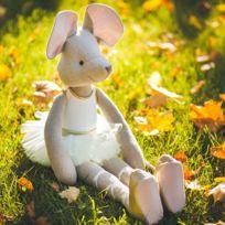 Sevira Kids - Poupée en tissu fait-main - 50 cm - Ballerine Souris - Tutu Blanc