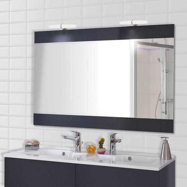 Miroir avec appliques LED lumineuse MIROSA - 120 cm gris