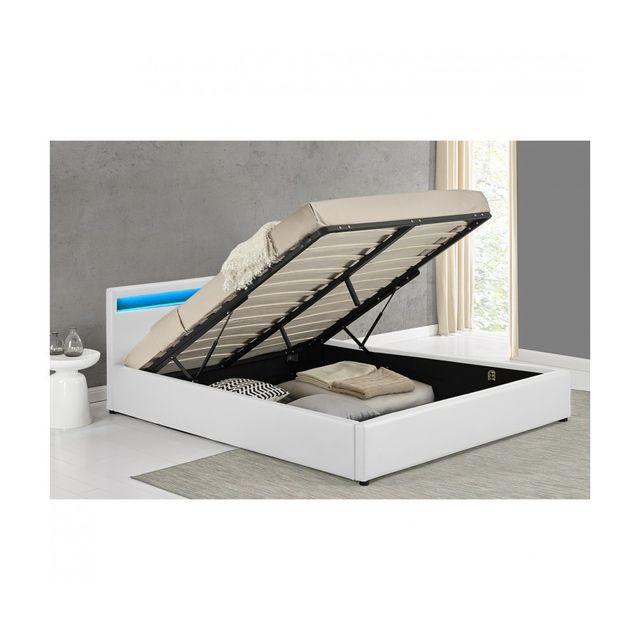 rocambolesk magnifique lit maximus blanc led avec coffre 140x190 cm 140cm x 190cm pas. Black Bedroom Furniture Sets. Home Design Ideas