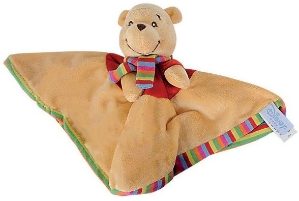Nicotoy - Doudou Plat Disney Winnie 24 X 24 cm - Peluche Winnie L'Ourson Enfant