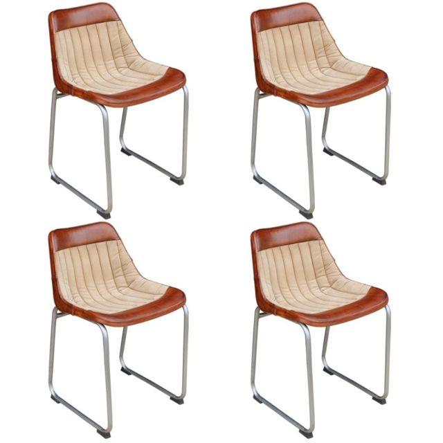 Sans Marque 4 chaises Cuir véritable et toile Marron et beige