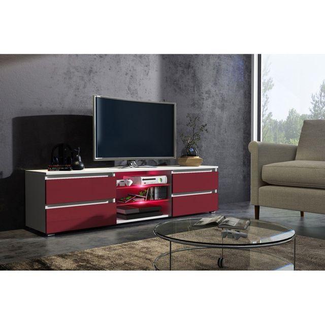 Mpc Meuble tv 150 cm blanc mat et façade bordeaux laquée