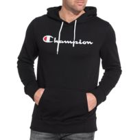 Champion - Sweat homme noir imprimé poche kangourou