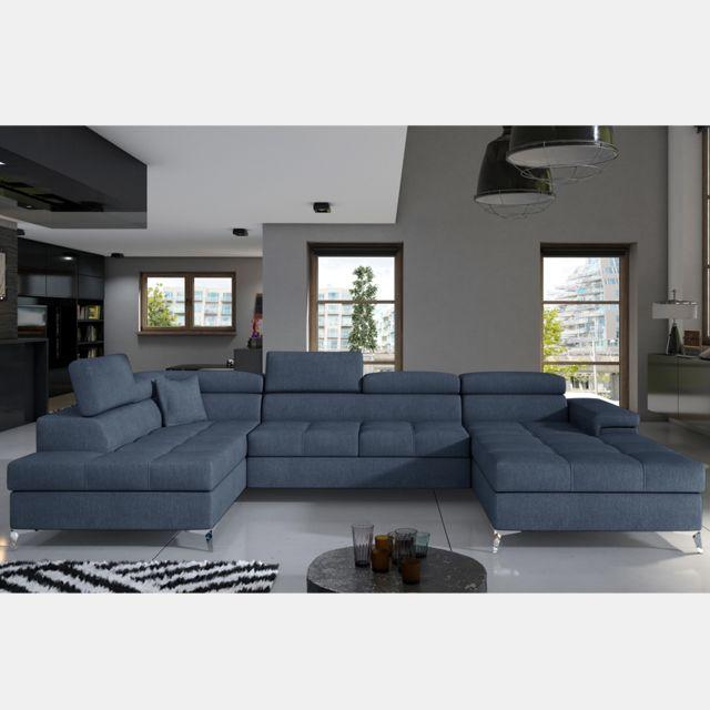 Nouvomeuble Canapé bleu clair panoramique convertible en tissu Edna