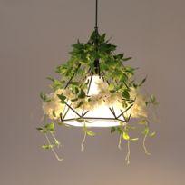 Décoration Suspendue Lampe Blanc Verte Luminaire Salon Simulation Plante Fleur Pendentif Lumières Intérieure De29EIWHY