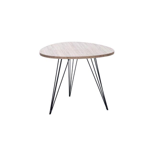 Table basse ronde 60 cm en bois et pieds métal - coloris bois