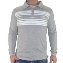 Calvin Klein - Polo Manches Longues - Homme - Rayure Km0 - Gris