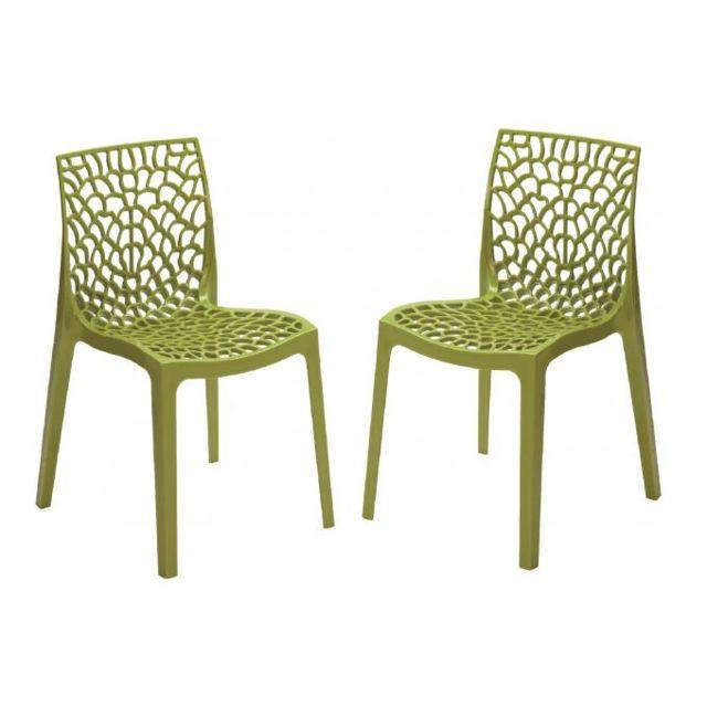 Lot de 2 chaises design vert anis Gruyer Opaque