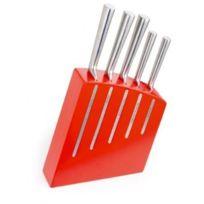 Pradel Jean Dubost - Bloc de Cuisine Kimono Rouge 5 Couteaux de de Cuisine Ventoux Acier Inox
