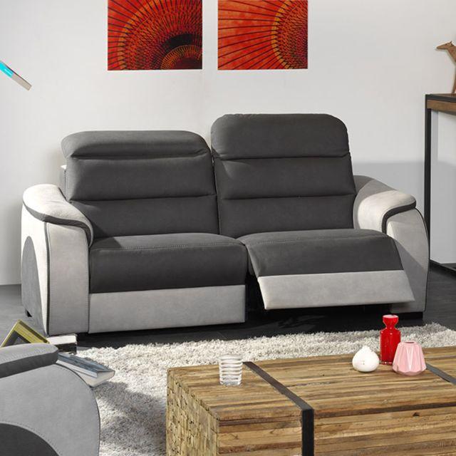 KASALINEA Canapé 3 places tissu gris TOBIAS - Sans relax électrique