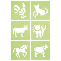 Dtm - pochoir plastique animaux - paquet de 6