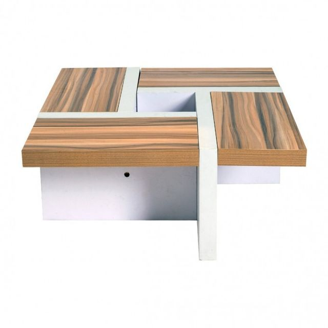 Mobili Rebecca Table Basse Table de Salon Bois Brun Blanc Style Contemporain Salle Living